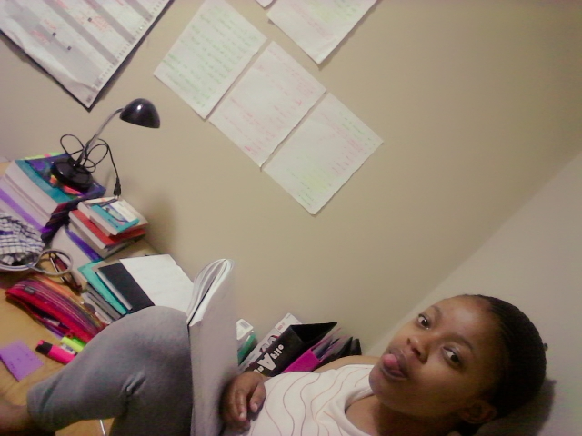 Nomfundo Studying Hard in her Room