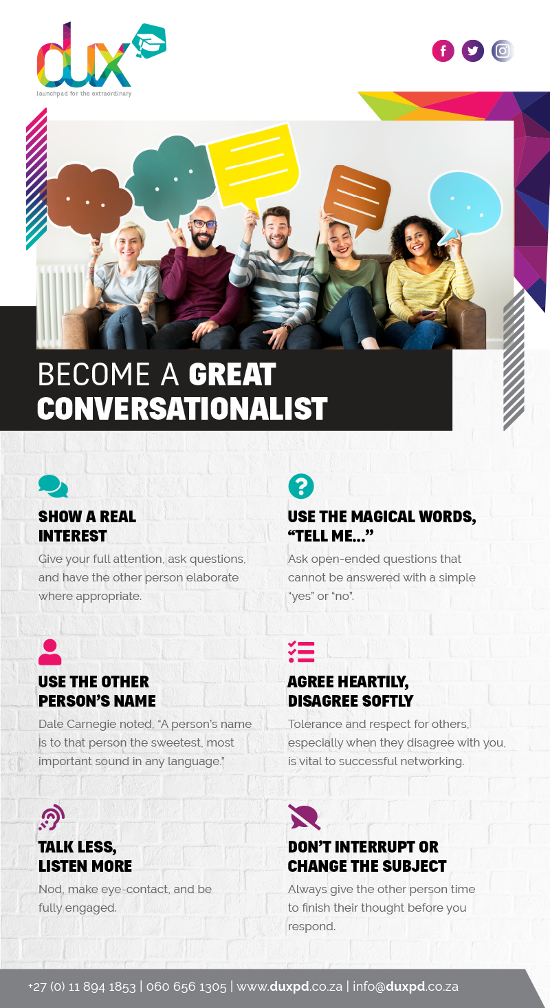 An infographic on how to be a great conversationalist